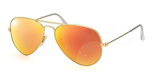 112/4D RB3025 Aviator - Large Metal - Polarized Flash Lenses , Ray-Ban