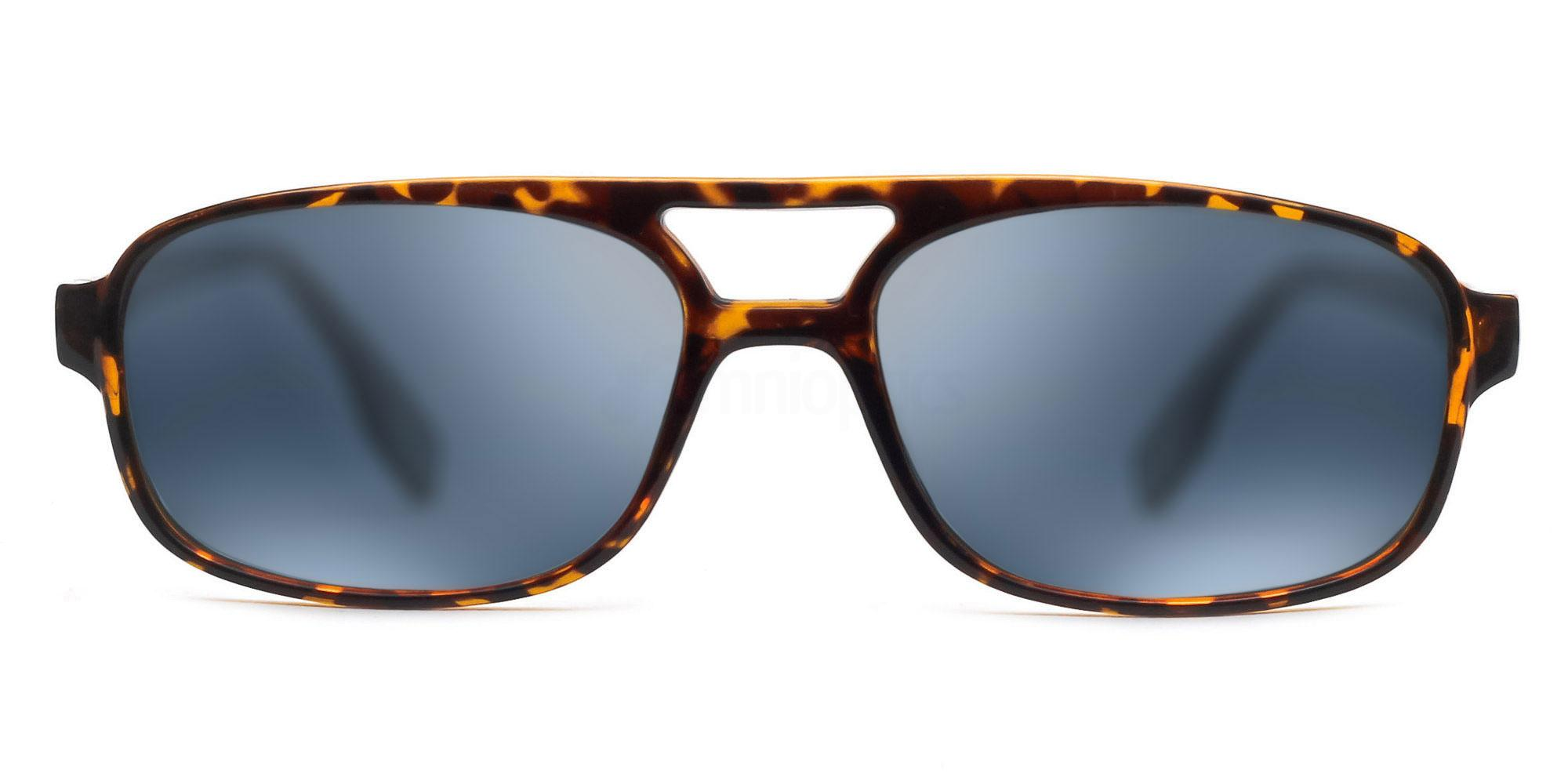 C04 Polarized Grey with Silver Mirror P2395 - Demi Havana (Mirrored Polarized) Sunglasses, Savannah