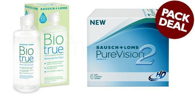 3 Lenses Pure Vision 2 HD with BioTrue Solution (Pack Deal) Lenses, Bausch & Lomb