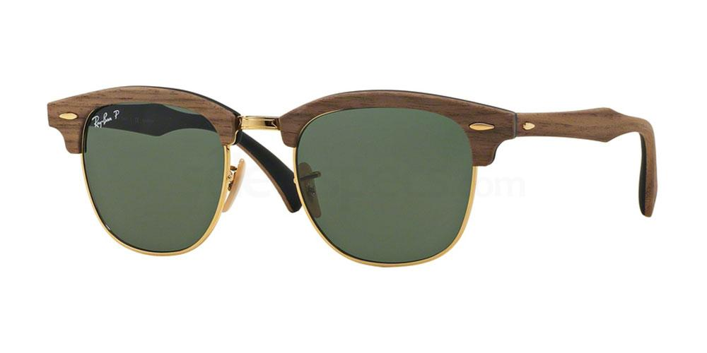118158 RB3016M Clubmaster (M) - Wood (Polarized) Sunglasses, Ray-Ban
