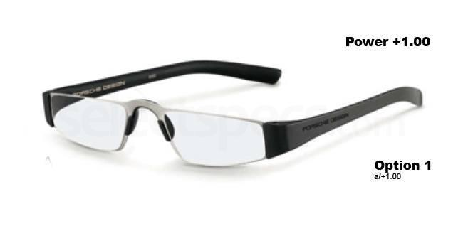 a +1.00 Power P8801 Reading Glasses - Silver & Black Accessories, Porsche Design