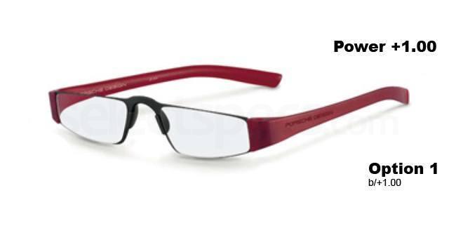 b +1.00 Power P8801 Reading Glasses - Black & Red Accessories, Porsche Design
