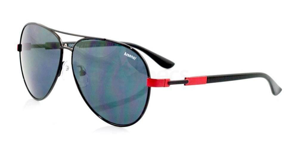 Arsenal Black and Red Arsenal FC - SAR010 Aviator Sunglasses, Fan Frames