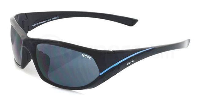 Manchester City Black and Sky Manchester City - SMC013 Sports Wrap Sunglasses, Fan Frames
