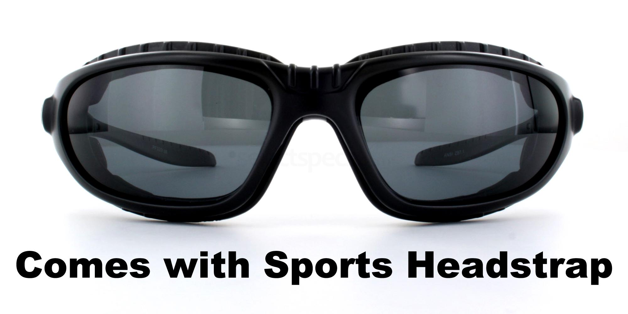Matte Black + Grey Lens + Headstrap PF320 Sunglasses, Aero