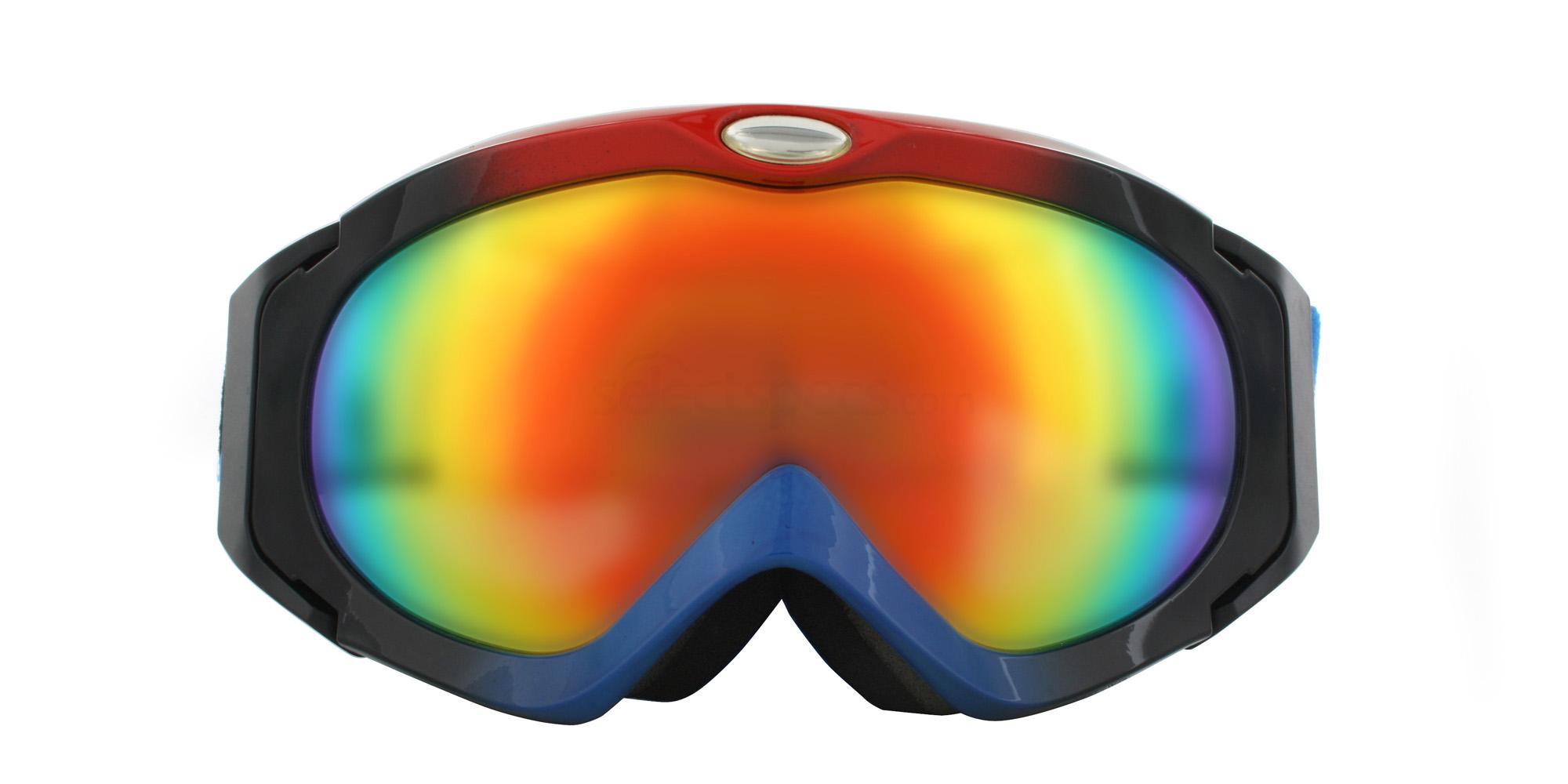 Black Blue Red H003 Ski Goggles, Aero