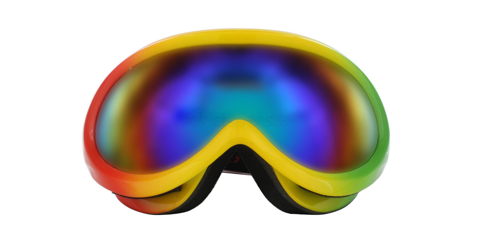 Red Yellow Green H006 Ski Goggles, Aero