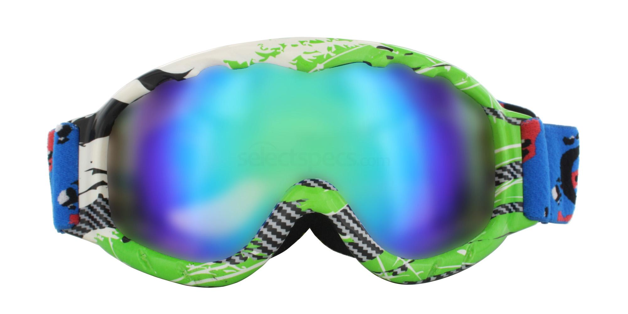 Green White Black H035 Ski Goggles, Aero