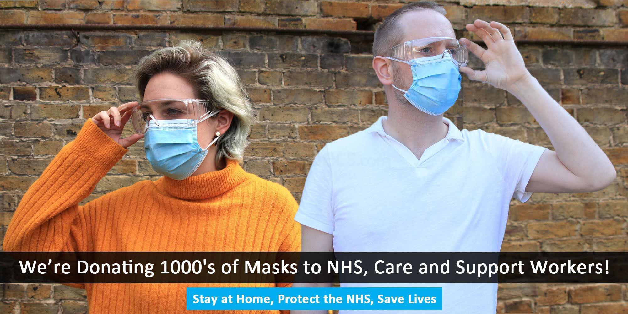 Safety Glasses + 20 Pk Surgical Masks 20pk Face Masks + Safety Glasses Pack Accessories, Optical accessories