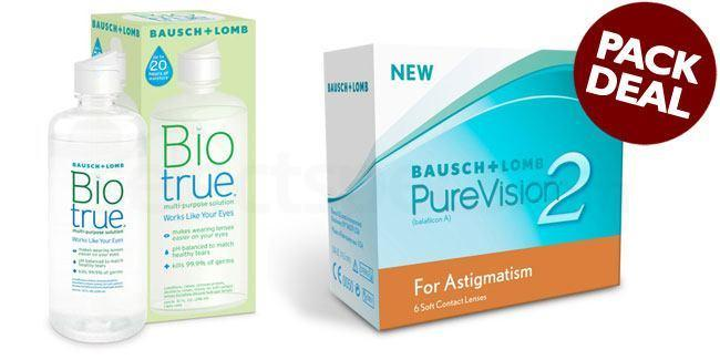 3 Lenses Pure Vision 2 HD for Astigmatism with BioTrue Solution (Pack Deal) Lenses, Bausch & Lomb