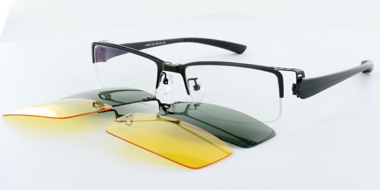 Black L8106 (With 2 Sun Clip-on lenses) Glasses, Infinity