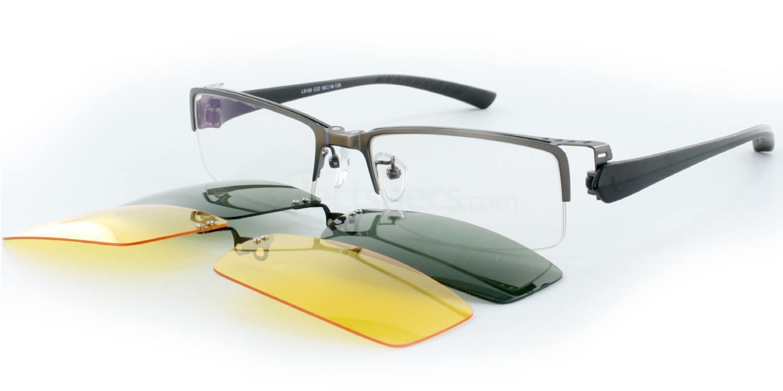 Gunmetal L8106 (With 2 Sun Clip-on lenses) Glasses, Infinity