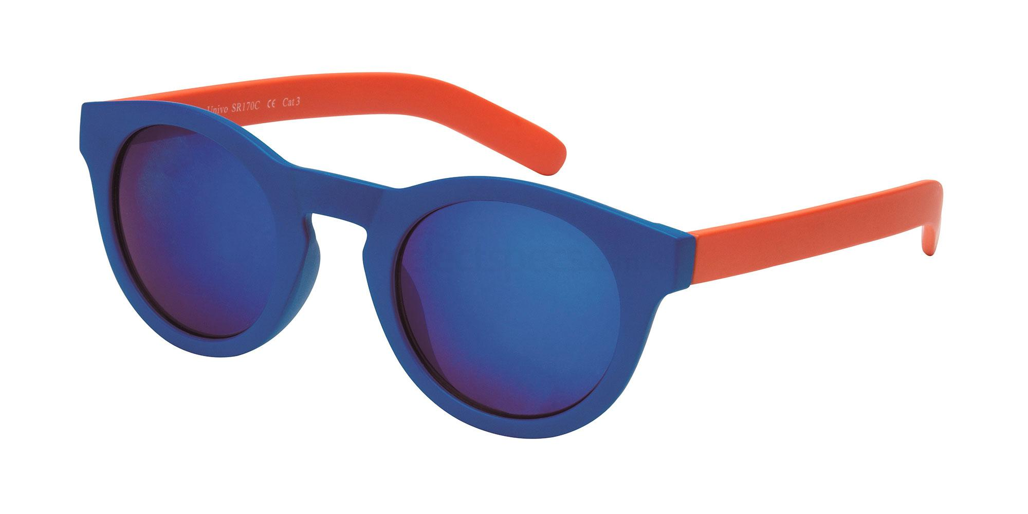 Univo SR170 round sunglasses with blue front and lenses and orange arms