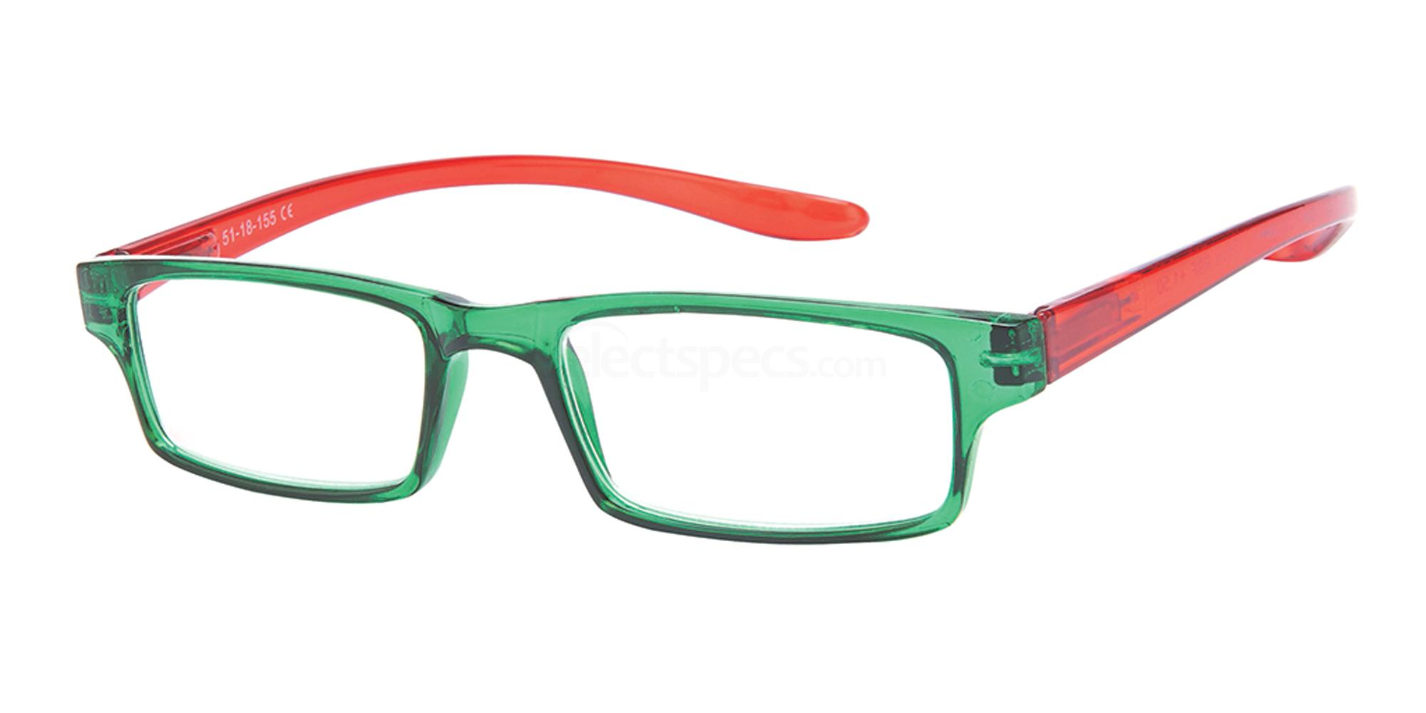 +1.00 Power Reading R9 - F: Green / Red Accessories, Univo Readers