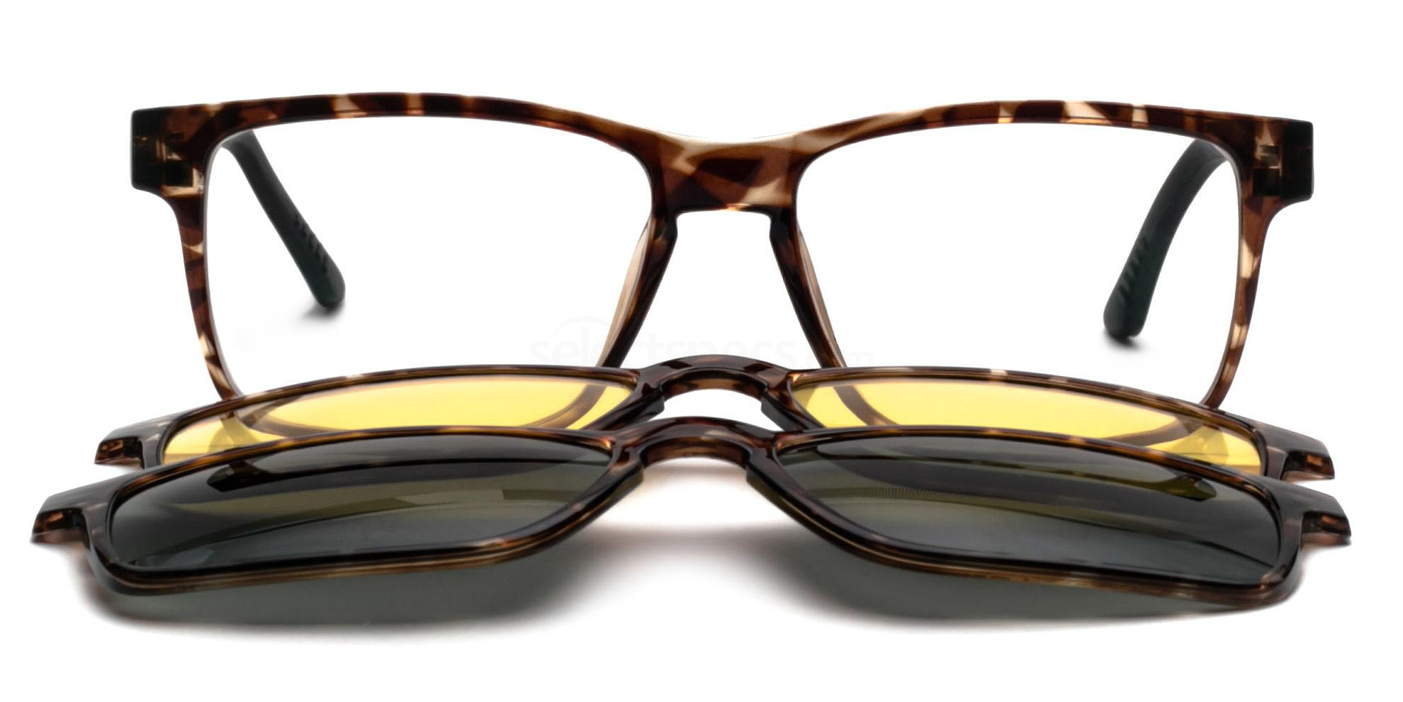 C3 5133 with 2X Magnetic, Polarised, Sunglasses Clip-on's Glasses, Infinity