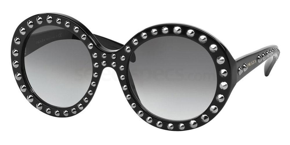 Black and white studs oval sunglasses