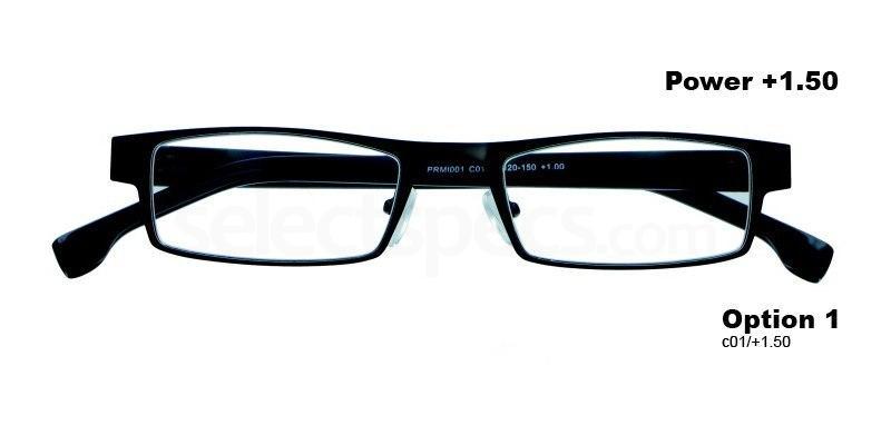 C01+1.50 Power PRMI001C01 Reading Glasses-Black Accessories, Proximo
