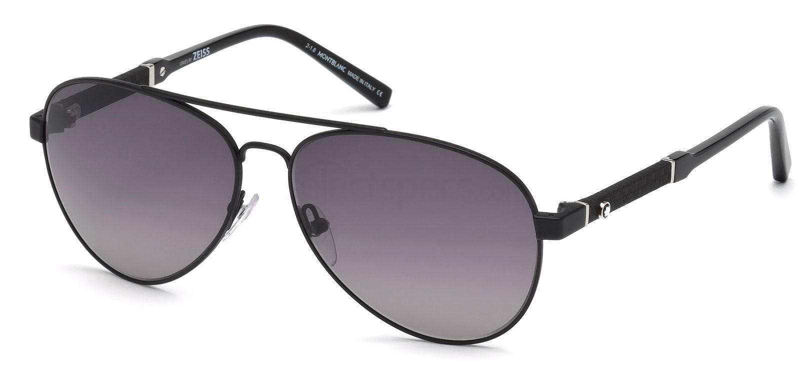 02B MB645S Sunglasses, Mont Blanc