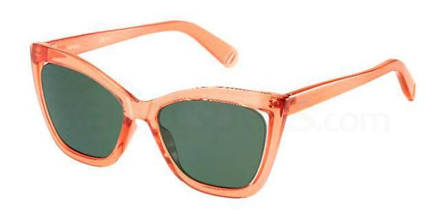 MAX&Co. 285/S orange framed sunglasses, translucent frame with dark green lenses