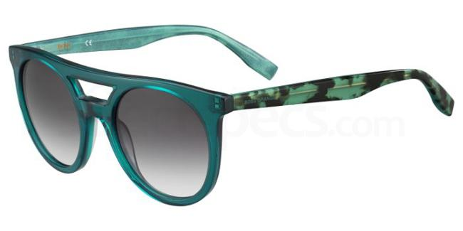 Boss Orange BO 0266/S Green sunglasses with mottled design on arms and double bridge