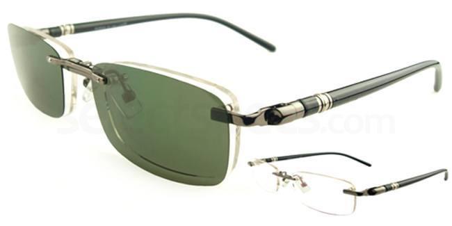 Gunmetal S9091 With Magnetic Polarized Sunglasses Clip-on Glasses, Vista