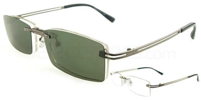 Gunmetal S9092 With Magnetic Polarized Sunglasses Clip-on Glasses, Vista