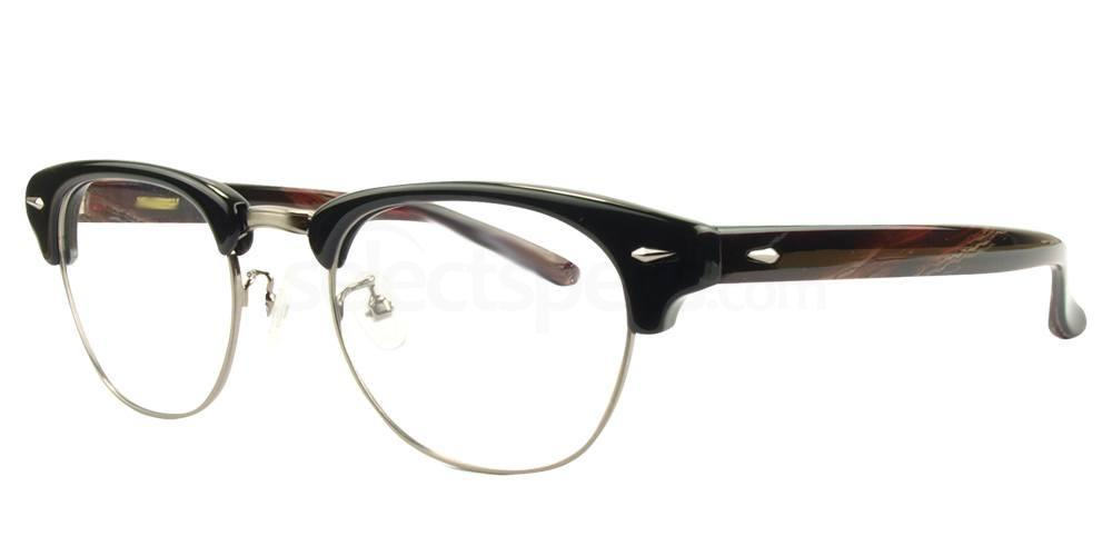 C2 Black / Silver with patterned arms K1420 Glasses, Hallmark
