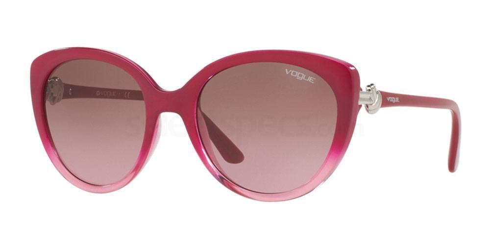 Vogue VO5060S Cat-eye sunglasses red top graduated pink, oversized with silver detail on the temple