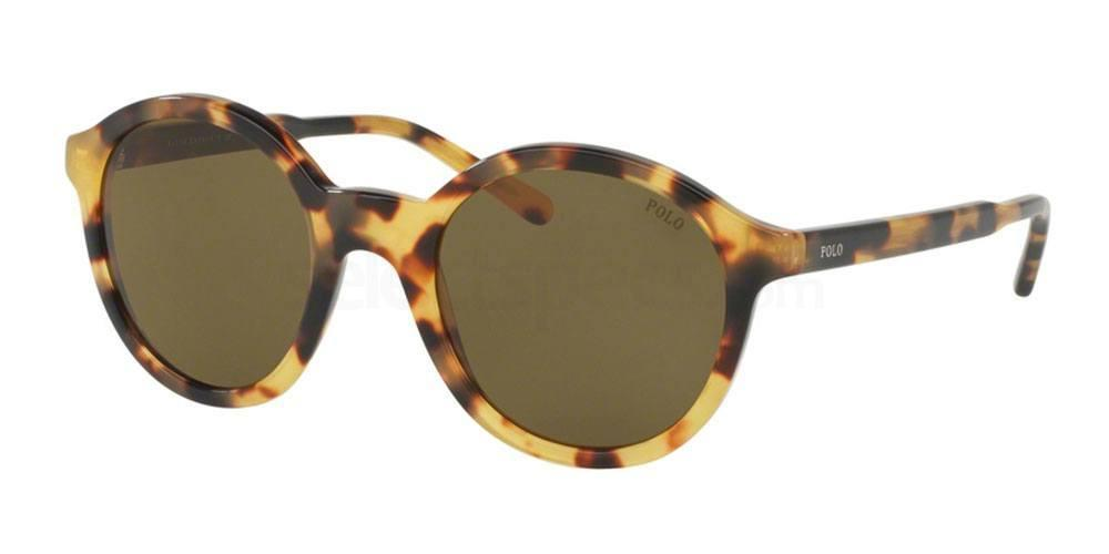 Polo Ralph Lauren PH4112 round havana or tortoise shell print frames with brown lenses. Polo logo on temple