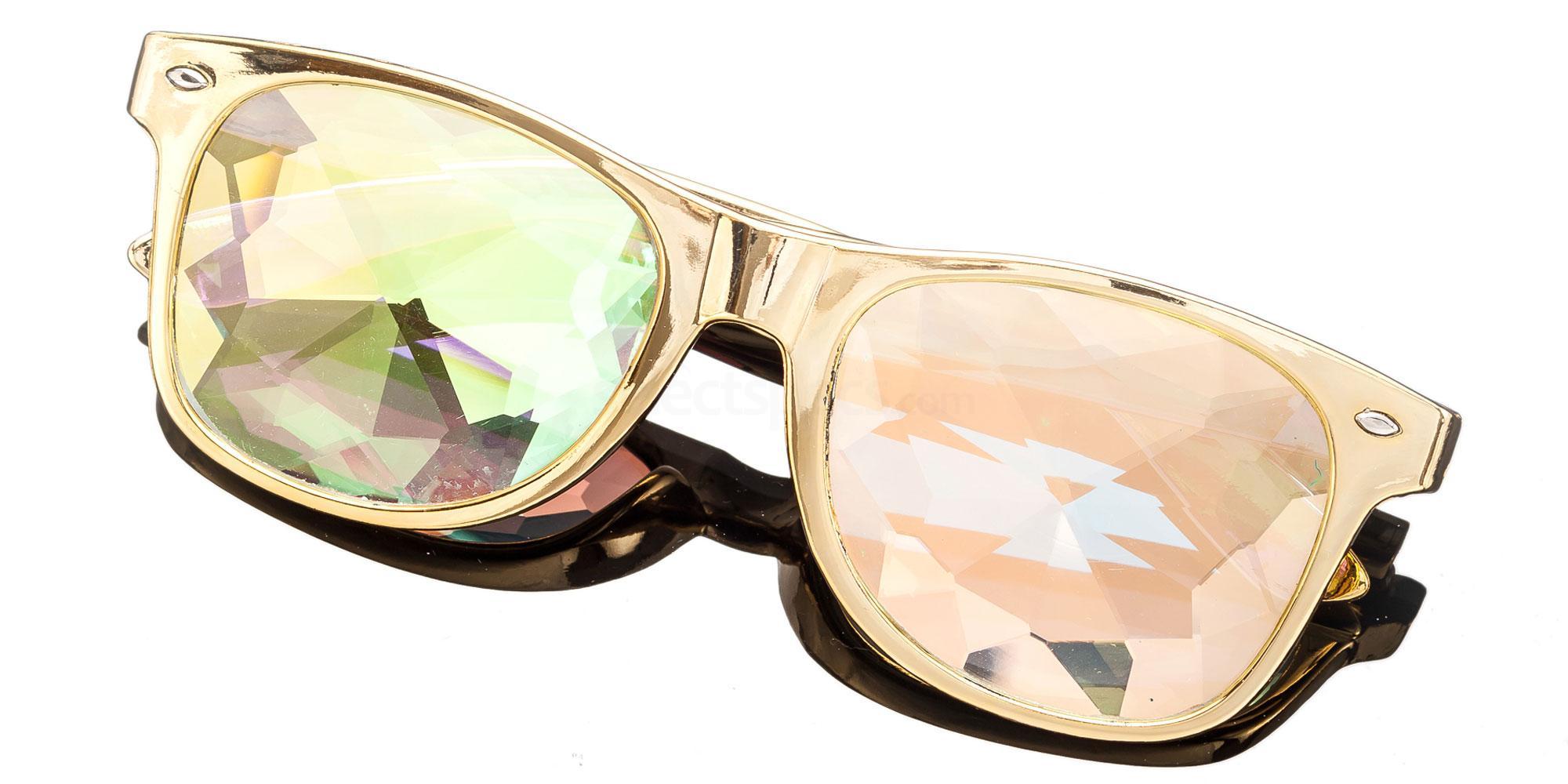 Gold Wayfarer Style Frame / Spine Rainbow Lense 1005K-4 Accessories, Kolor Kaleido