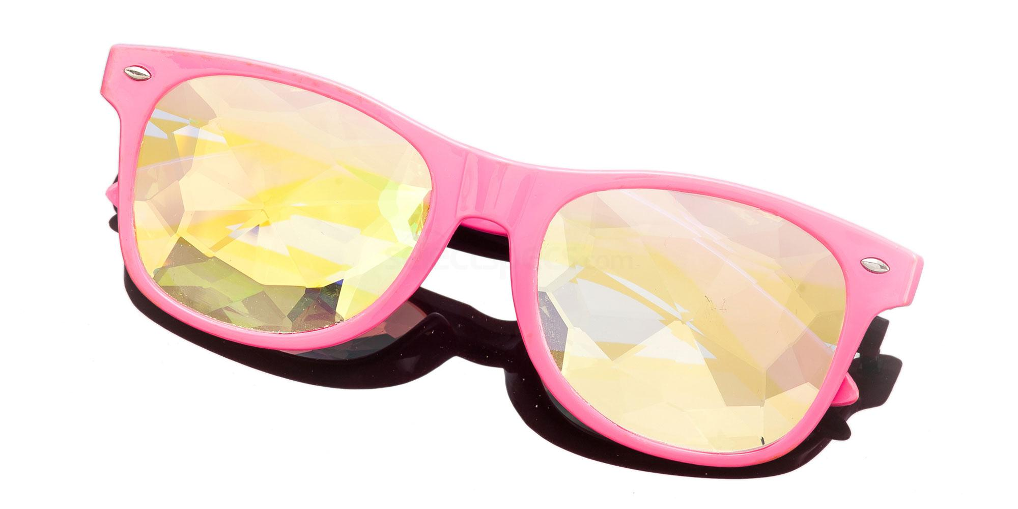 Pink Wayfarer Style Frame / Spine Rainbow Lense 1005K-5 Accessories, Kolor Kaleido
