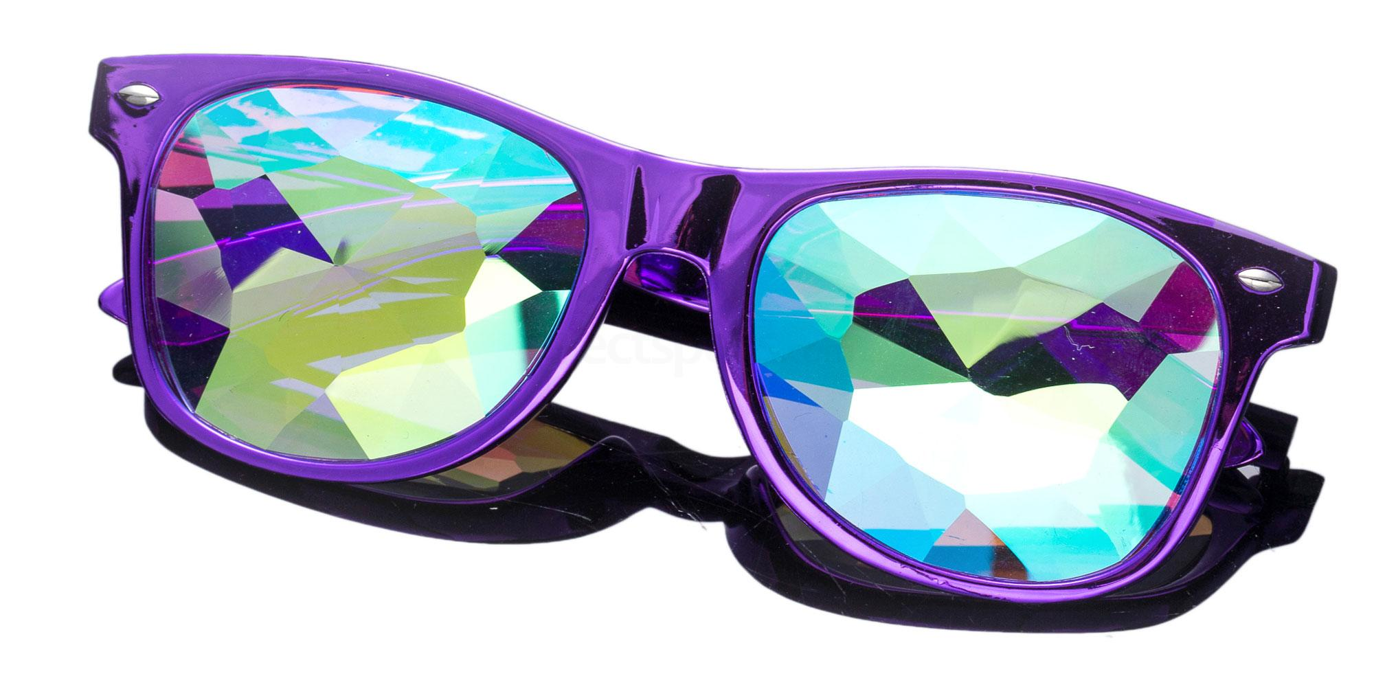 Dark purple Wayfarer Style Frame / Small Diamond Rainbow Lense 1005K-9 Accessories, Kolor Kaleido