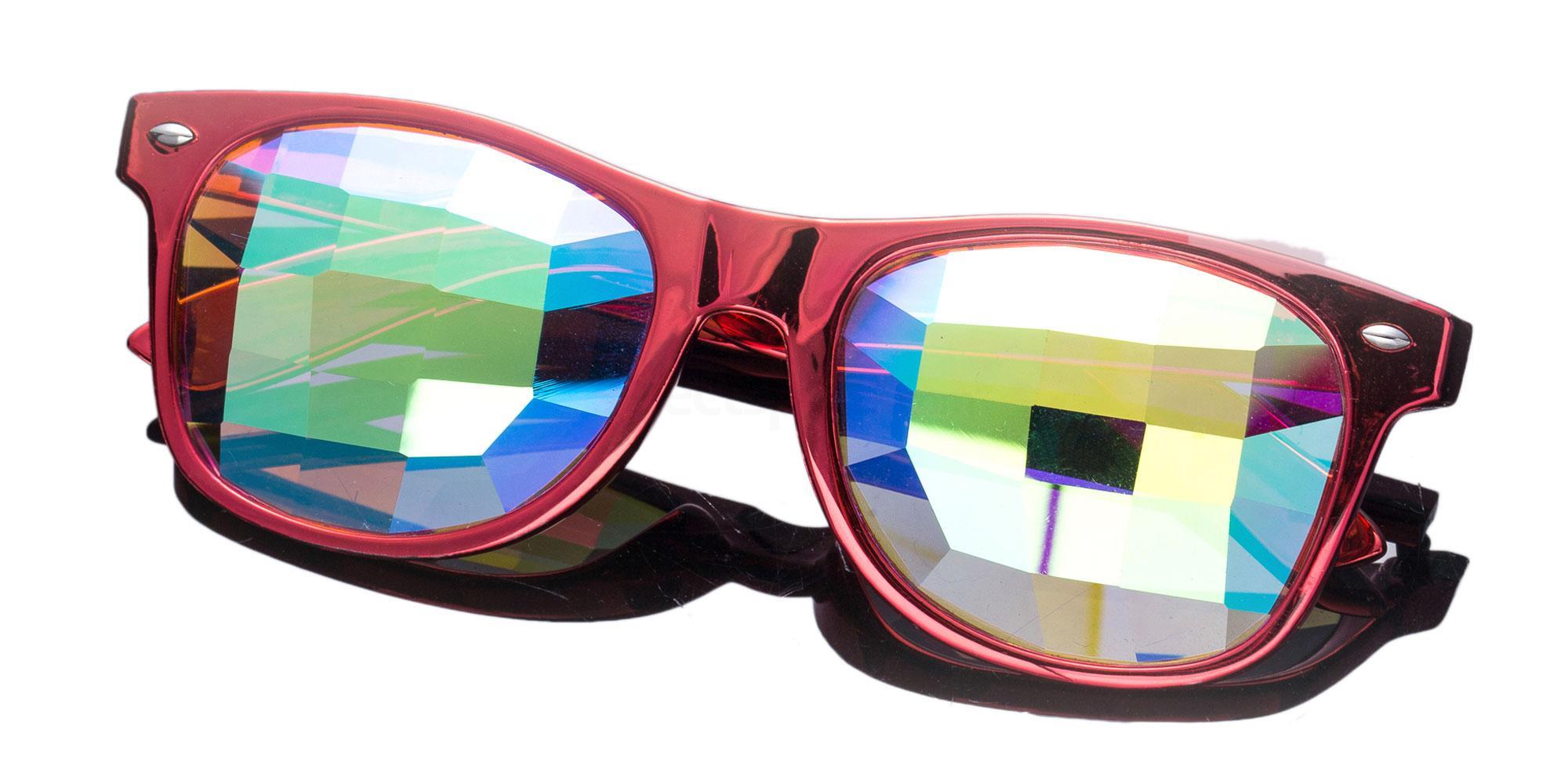 Red Wayfarer Style Frame / Pane Rainbow Lens 1005K-10 Accessories, Kolor Kaleido