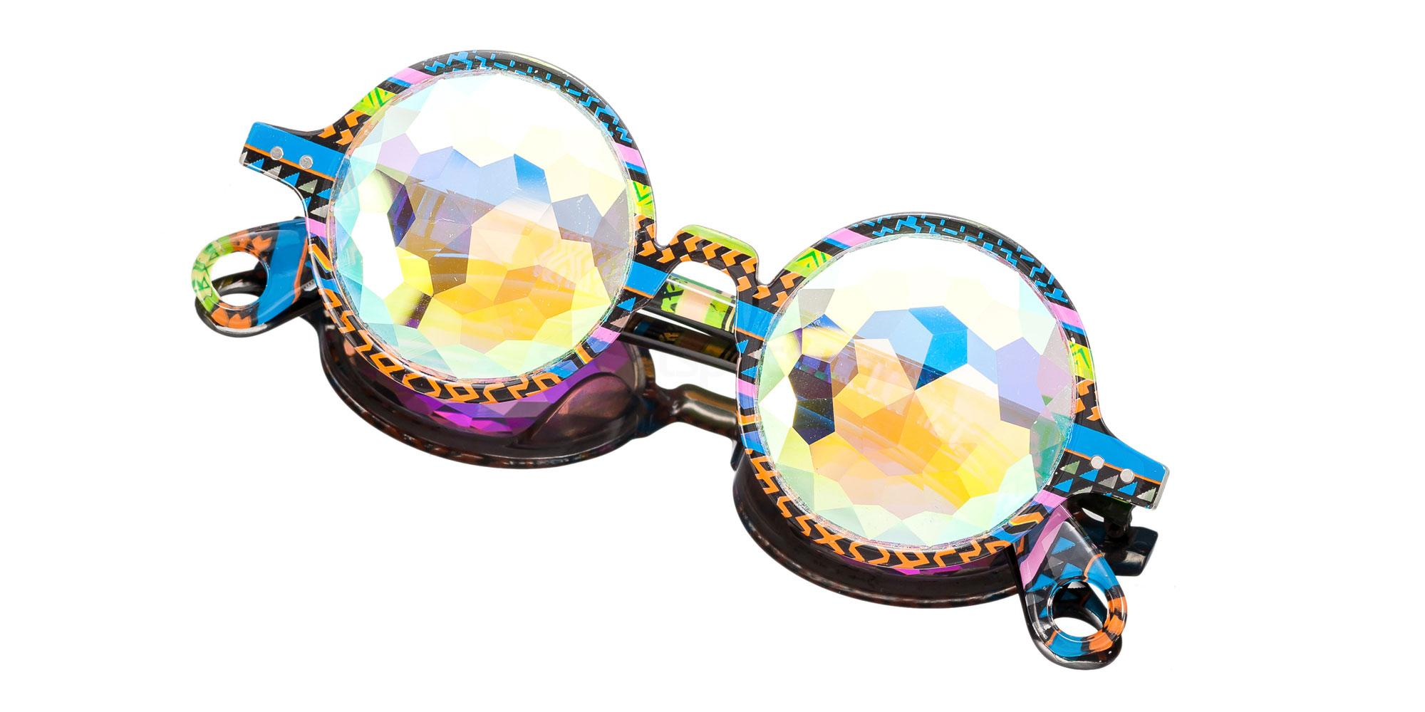 Tribal Pattern Round Style Frame / Kaleidoscope Rainbow Lense 1004K-4 Accessories, Kolor Kaleido