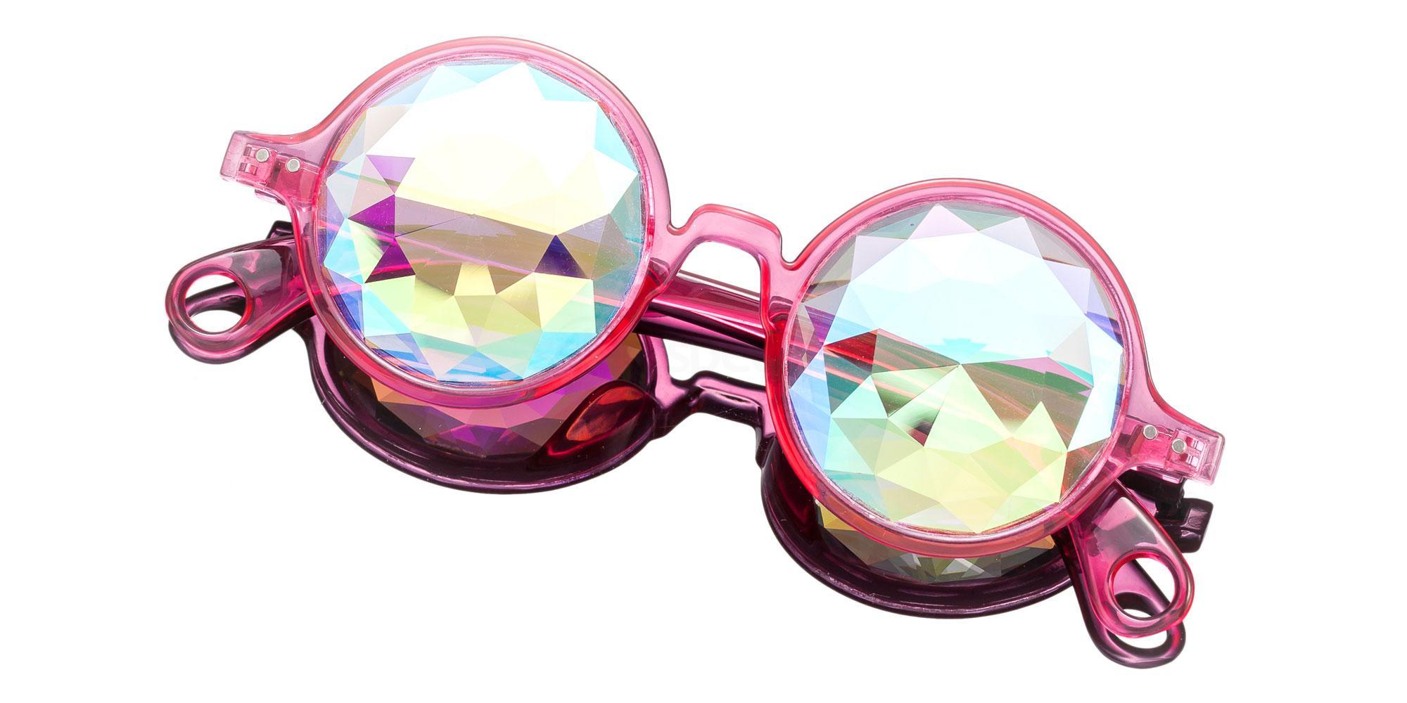 Pink Round Style Frame / Small Diamond Rainbow Lense 1004K-5 Accessories, Kolor Kaleido