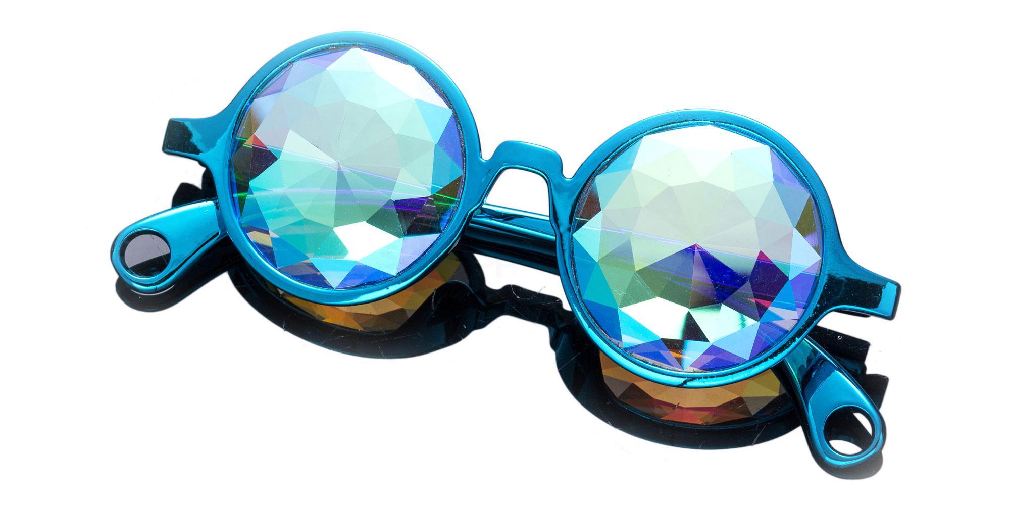 Green Round Style Frame / Small Diamond Rainbow Lense 1004K-23 Accessories, Kolor Kaleido