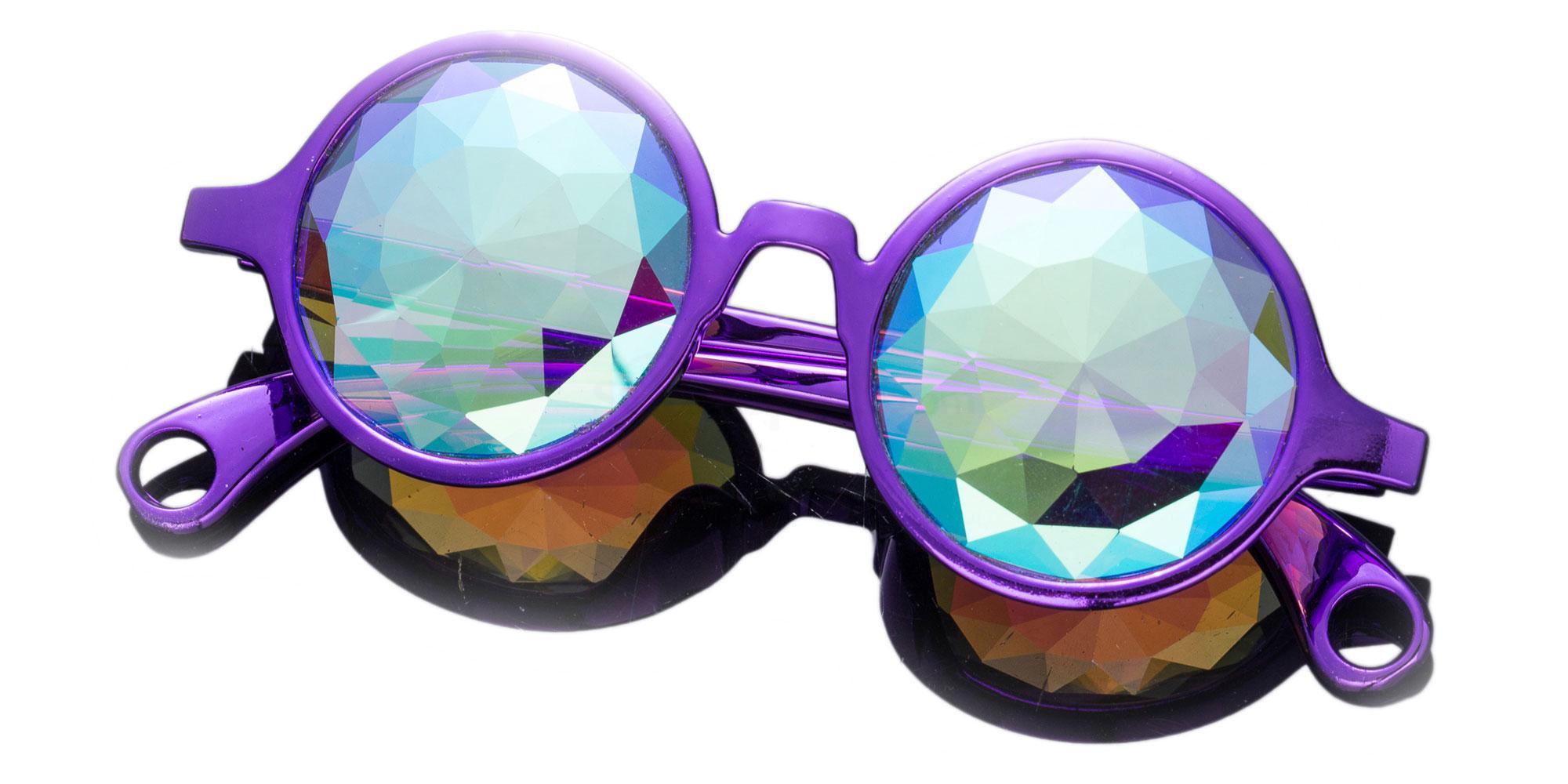 Light purple Round Style Frame / Small Diamond Rainbow Lense 1004K-24 Accessories, Kolor Kaleido