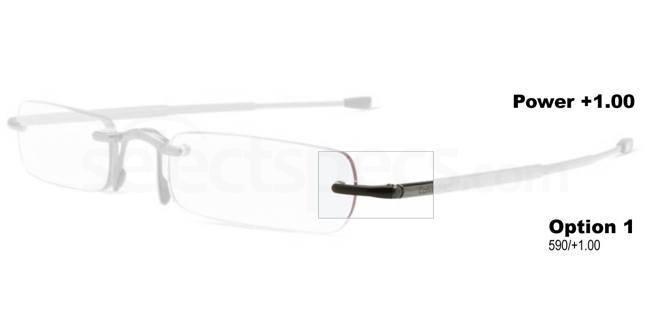 +1.00 Power Readers CR1: 590 - Satin Black Accessories, Calvin Klein