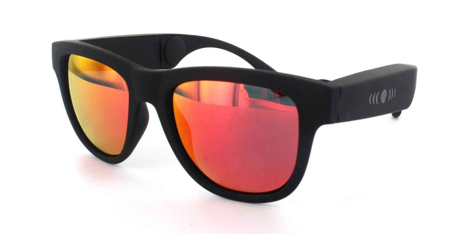 Black C010 - Polarised Bone Conduction Sunglasses with Bluetooth Sunglasses, Hertz Eyewear