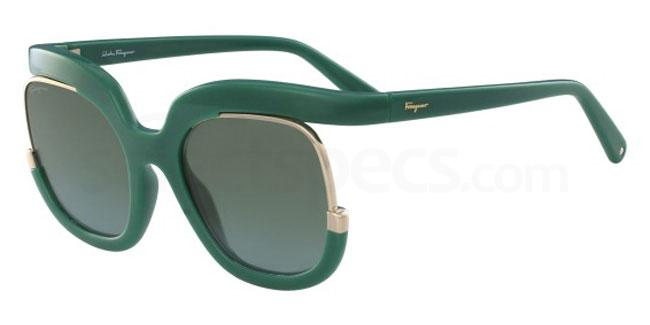 Green Salvatore Ferragamo sunglasses