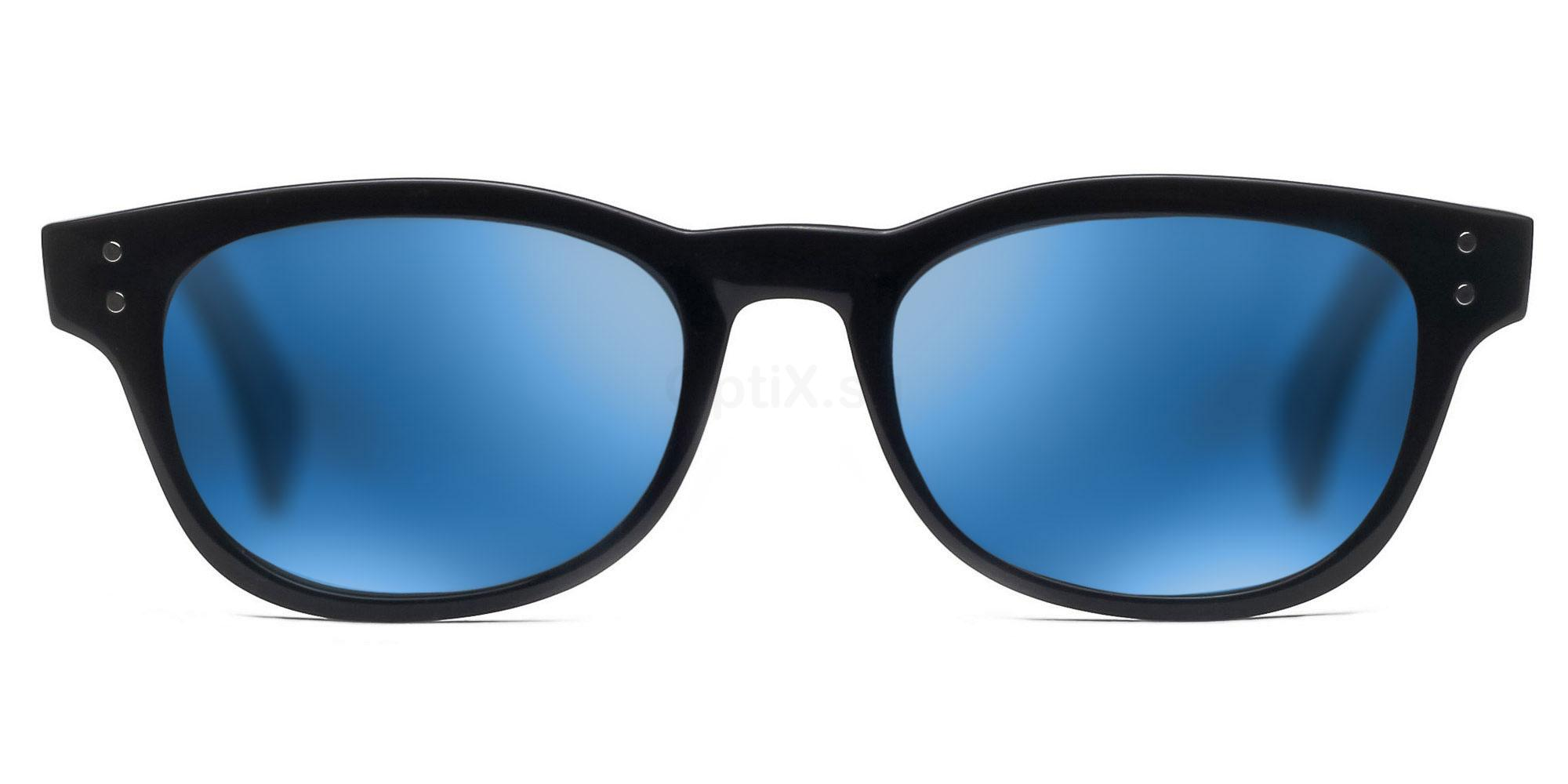 C01 Polarized Grey with Blue Mirror P2249 Shiny Black (Mirrored Polarized) Sunglasses, Savannah