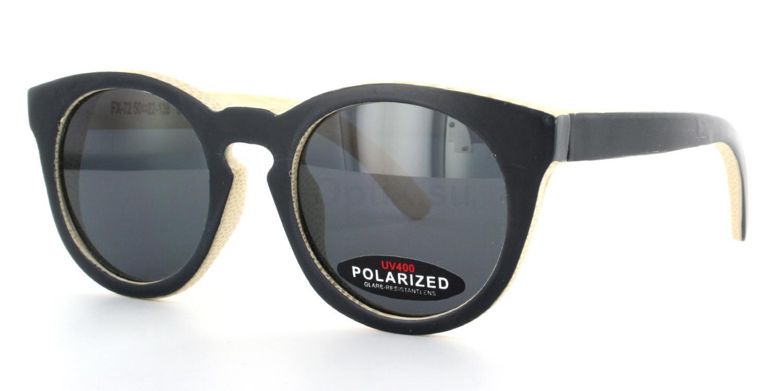 Black front, Bamboo inside FX-72 - Bamboo frame & Case Sunglasses, Arbor