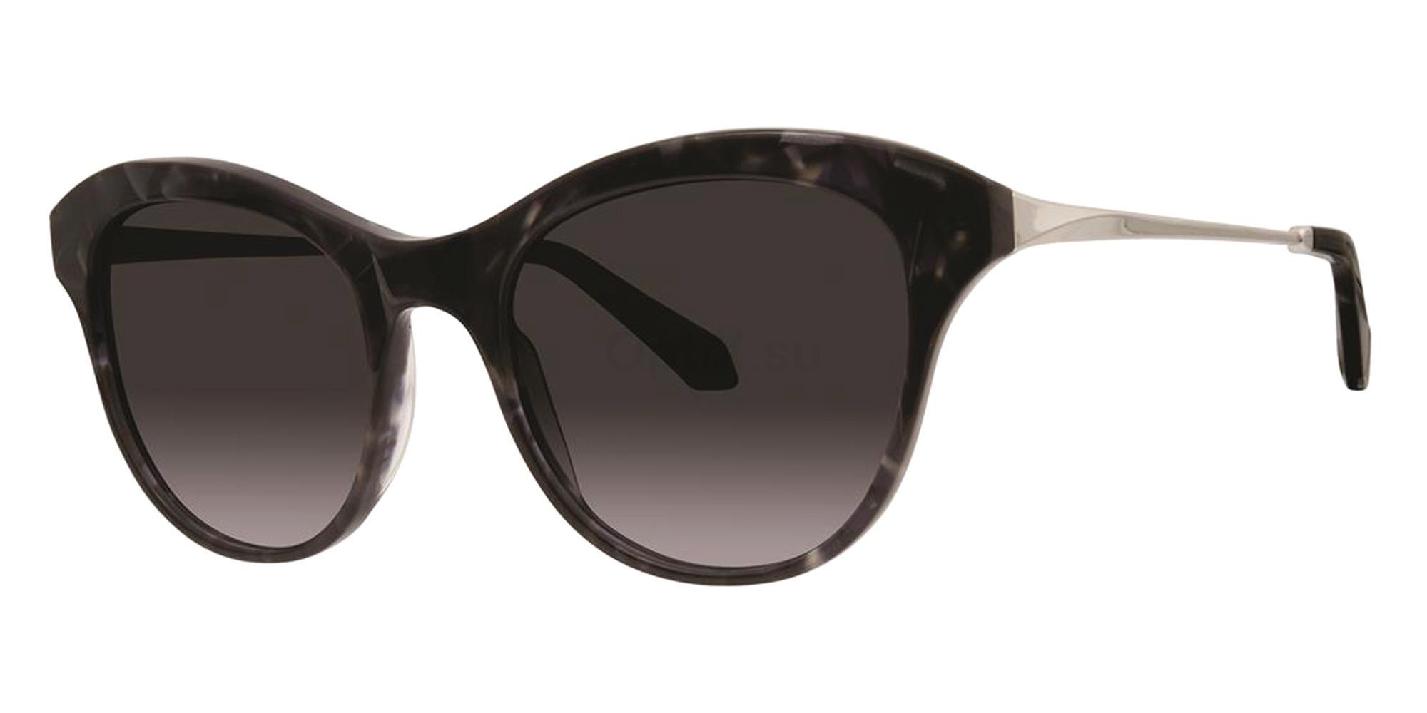 Black Satin JOLENE Sunglasses, Zac Posen