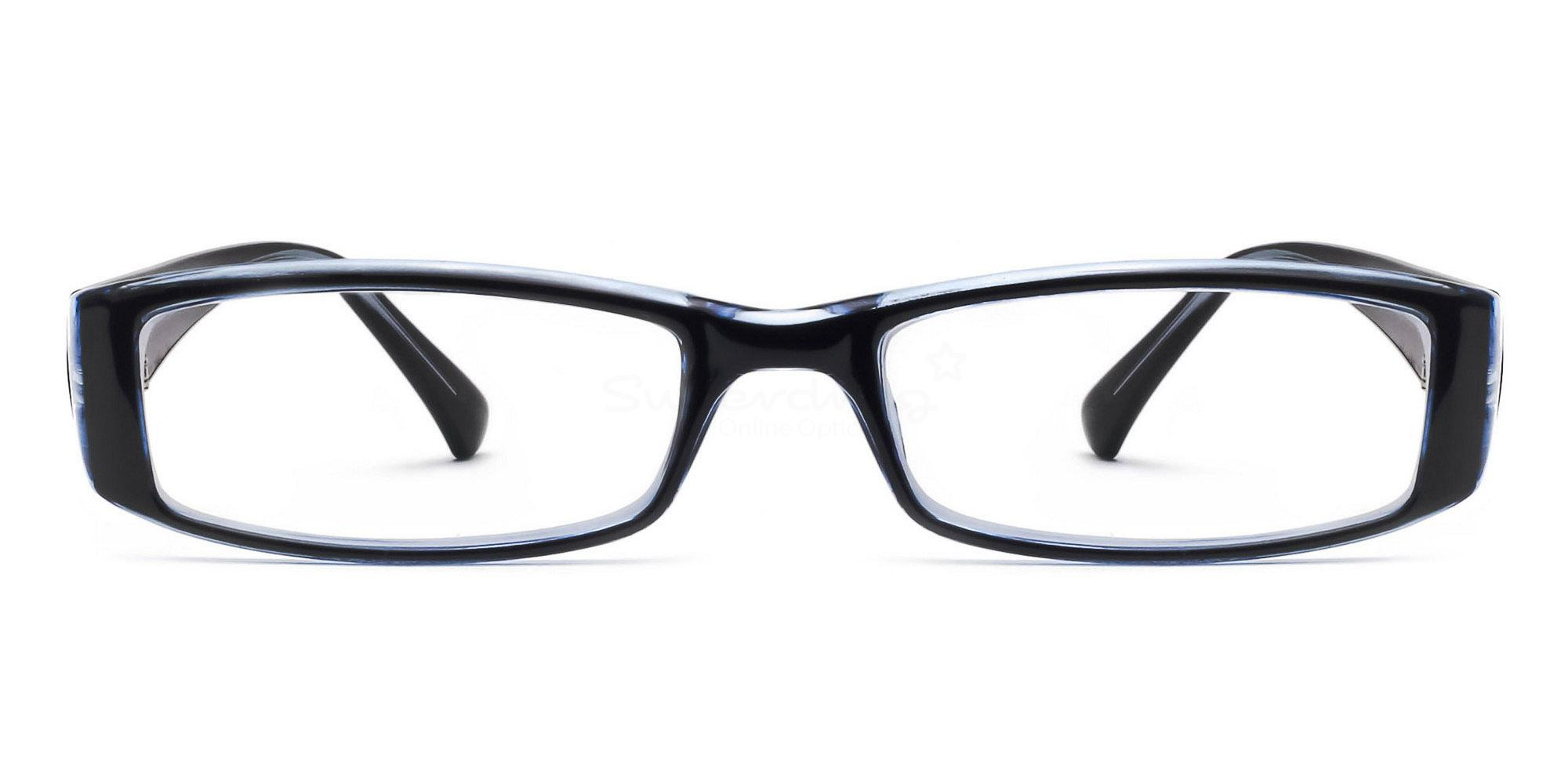 C48 P2251 - Black and Blue Glasses, Helium