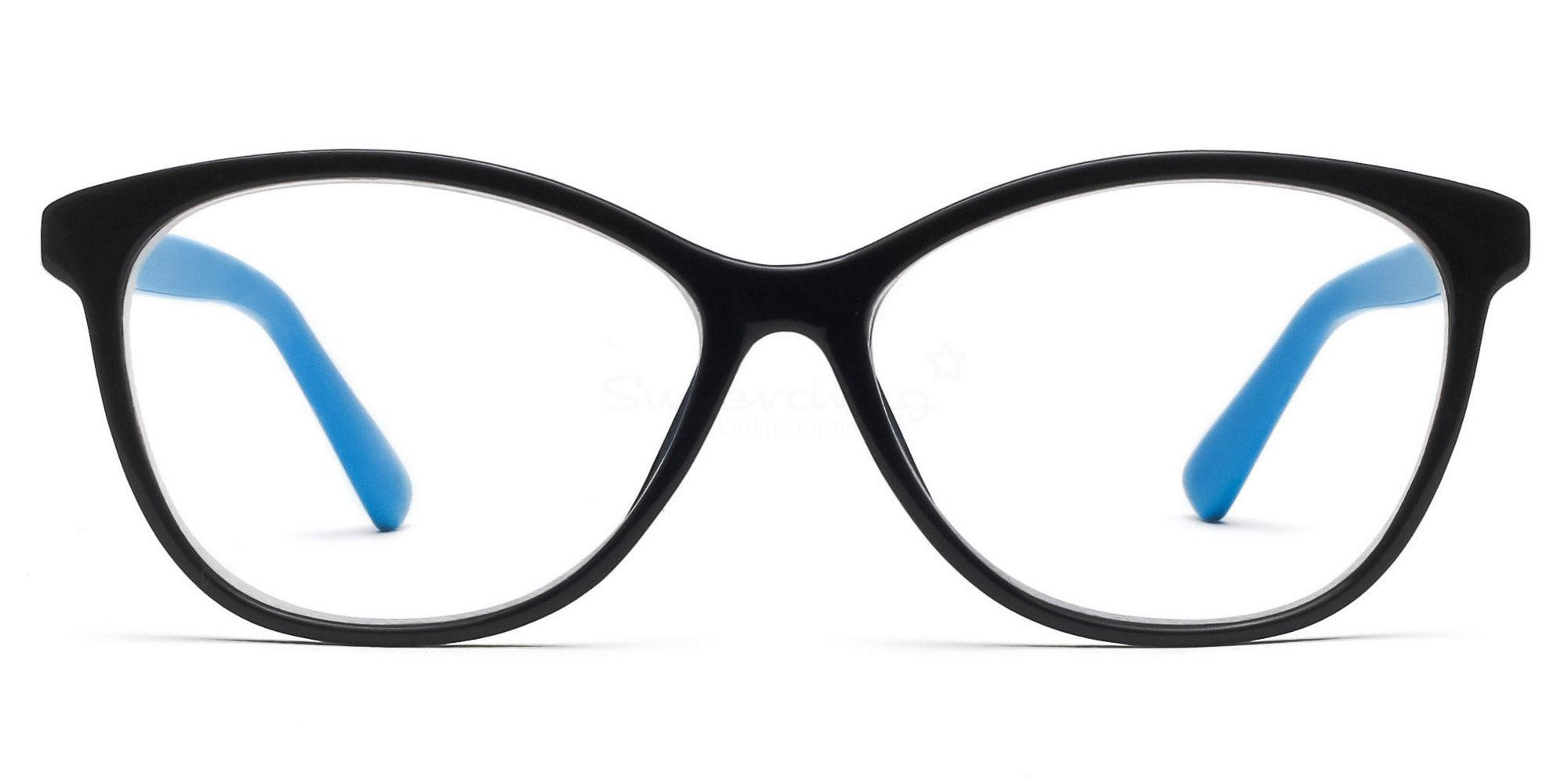 COL.88 2439 - Black and Blue Glasses, Helium