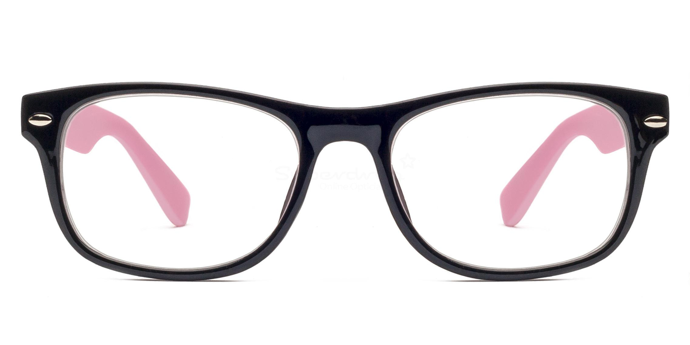 C86 P2383 - Black and Pink Glasses, Helium