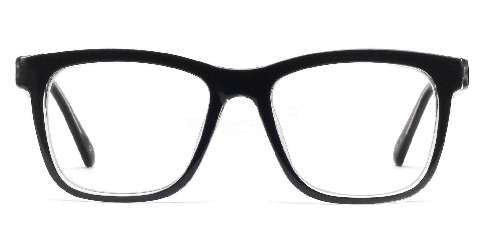 C33 2444 - Black and Clear Glasses, Helium
