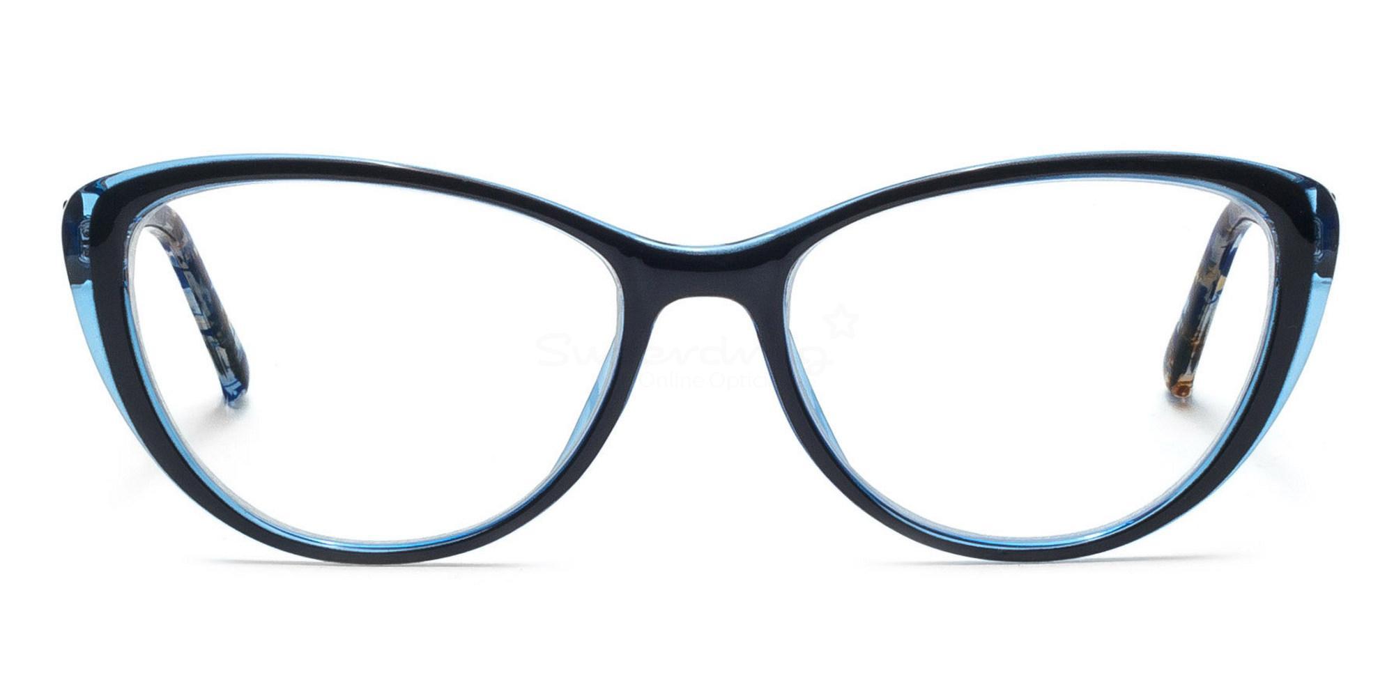 C48 2489 - Black on Blue Glasses, Helium