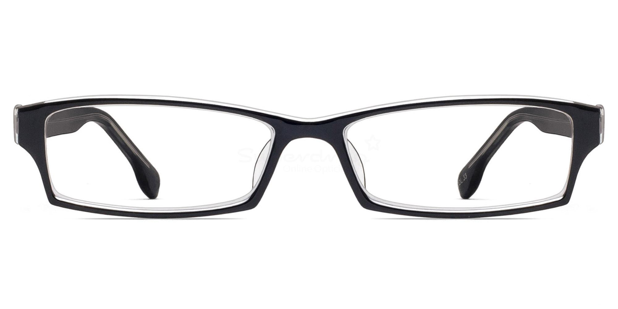 Col. 33 2381 - Black and Clear Glasses, Helium