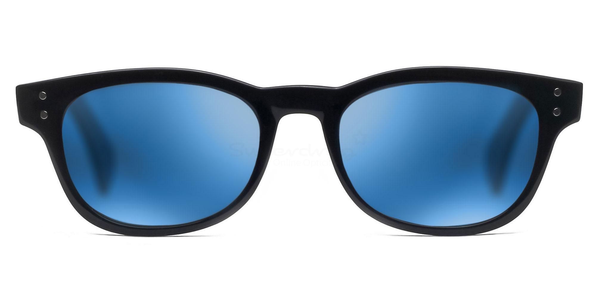 C01 Polarized Grey with Blue Mirror P2249 Shiny Black (Mirrored Polarized) Sunglasses, Neon